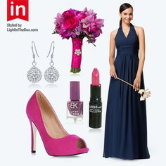 Styled by LightInTheBox: Bridesmaids in Navy and Fuschia are making a HIT this wedding season! The traditional dark color is classy, and the fushia makes a modern colorful complement! Do you LIKE this wedding color combination?   Bridesmaid Dress USD $97.99 Shoes USD $57.99 Nail Polish USD $2.99 LipStick USD $4.99