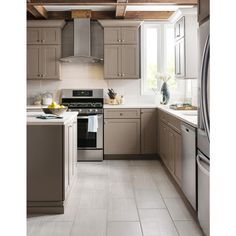 Here's the silver tile in a kitchen . Shop Style Selections Leonia Silver Glazed Porcelain Indoor/Outdoor Floor Tile (Common: x Actual: x at Lowes. Kitchen Tiles, Kitchen Flooring, Kitchen Decor, Taupe Kitchen, Flooring Tiles, Kitchen Chairs, Kitchen Design, Shower Floor, Tile Floor
