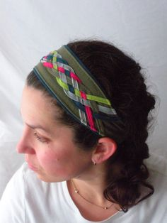 Woven Narrow Pink Teal Gray Lime & Army Green Tshirt Headband by Misty Valadez