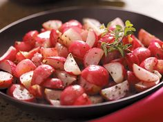Roasted radishes. Radishes lose their bitter tang when roasted, becoming sweet and rich.