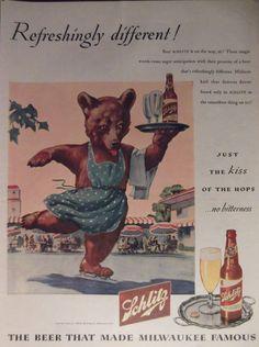 Retro SCHLITZ BEER AD Original 1940s by VintagePaperGallery, $7.50