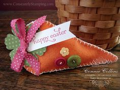 Stampin' Up!  Petal Cone  Connie Collins  Felt carrot
