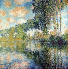 Claude Monet Poplars on the Epte, 1891 . I will forever lovethe work of Monet. I look at a Monet and I cry (in a good way) his work is obviously heaven sent Renoir, Claude Monet, Monet Paintings, Landscape Paintings, Landscapes, Artist Monet, Impressionist Paintings, Oil Painting Reproductions, Beautiful Paintings