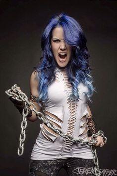 Alissa White-Gluz: Base for: Emma MacNamara Heavy Metal Girl, Heavy Metal Music, Heavy Metal Bands, Female Guitarist, Female Singers, Witcher Wallpaper, The Agonist, Ladies Of Metal, Alissa White