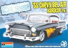 """Revell 1:25 55 Chevy  Bel Air  Hardtop 2n1 by Revell. $19.29. From the Manufacturer                An all time classic and considered one of the """"10 best"""" American cars. The '55 Chevy Bel Air captured the spirit of the """"Grease"""" generation with all new styling and design.                                    Product Description                An all time classic and considered one of the ?10 best? American cars. The ?55 Chevy Bel Air captured the spirit of the ?Grease? ge..."""