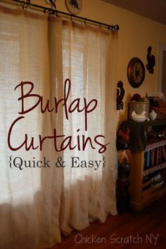 Floor Length Burlap Curtains - tie back with flowers
