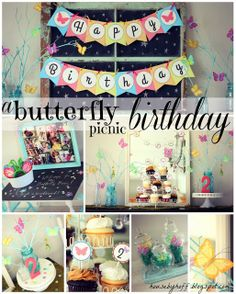 Butterfly Picnic Birthday. Such a cute theme for a little girls party