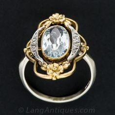 Art Nouveau Aquamarine and Diamond Ring - Lang Antiques