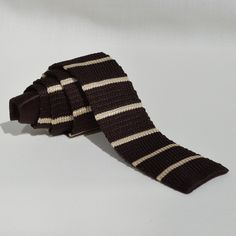 Corbata Punto Marrón Rayas Beige