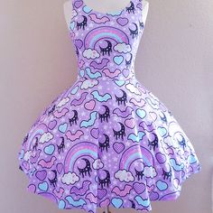 ☆ rainbow spooky bats ☆ purple skater dress made to order ✧ pastel goth ✧ creepy cute