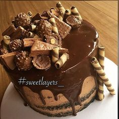 - Moist Chocolate Cream Filled, Chocolate Ferrero Rocher and Nutella Cake!  TAG a Cake Lover! - Cake by: @sweetlayers_