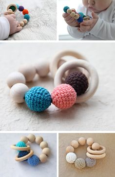 Mooie houten rammelaar en bijtring, met gehaakte ballen en houten ringen en kralen. Teething toy with crochet wooden beads in Toys and games for babies and kids