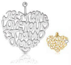 """No hay ninguna mujer que diga que se cansa de escuchar las palabras """"Te amo"""". ¡Dilo en cuatro idiomas en San Valentín con este colgante TOUS de Reinhold Jewelers!  En oro: El corazón de oro pequeño $575. El corazón grande $1,279. Puedes comprarlo en los dos tiendas."""