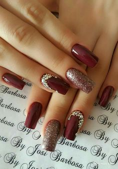 12 Stunning Red Dark Nail Art Designs Ideas for 2019 : Have a look! check out these 12 Stunning Red Dark Nail Art designs Ideas. All the red lovers can try any of these to make a statement. Stylish Nails, Classy Nails, Cute Nails, Pretty Nails, Fall Nail Art Designs, Red Nail Designs, Nail Polish Designs, Nails Design, Christmas Nail Art