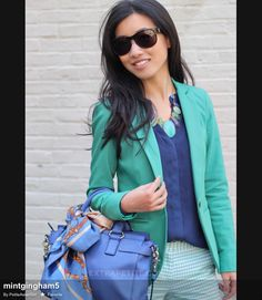 navy blouse, light green pants and green jacket // Professional Style @ Levo (via Extra Petite Blog)