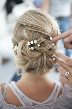 Sweet Wedding Updo with Baby's Breath   ~  we ❤ this! moncheribridals.com  #bridalupdo
