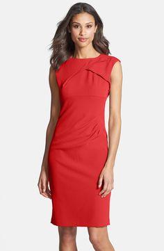 Adrianna Papell Pleated Crepe Dress