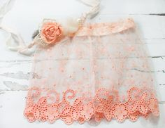 Peaches and Dreams - newborn skirt in a beautiful peach and coral pink lace trim with dainty scroll flower work and tieback - gorgeous set by SoTweetDesigns on Etsy