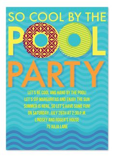 So Cool By the Pool party invitations