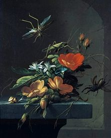 Artwork by Elias van den Broeck, STILL LIFE OF AUSTRIAN BRIARS ARRANGED UPON A STONE PLINTH, WITH STAG BEETLES, Made of oil on canvas