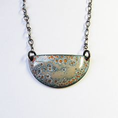 Gray and gold half moon necklace, long boho chic pendant, enameled copper art deco jewelry on Etsy, $35.00