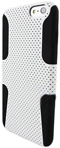 "myLife 2 Layer Neo Hybrid Bumper Case for iPhone 6 Plus (5.5"" Inch) by Apple {Swan Black + Creamy White ""Perforated Mesh Net"" Two Piece SECURE-Fit Rubberized Gel} myLife Brand Products http://www.amazon.com/dp/B00PT2WB9W/ref=cm_sw_r_pi_dp_0d2Cub0Y7K0GX"