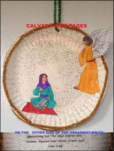 Angel Gabriel Appears To Mary Ornament Craft. Jesus Crafts, Bible Story Crafts, Catholic Crafts, Church Crafts, Preschool Bible Activities, Christmas Activities For Kids, Preschool Crafts, Preschool Lessons, Kids Crafts
