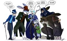 I am unsure as to which of these artists drew the image but I'll link it to pooka-curse. from left to right. jack adler,bunny holmes,winter prince, aster, jokul on Hyde's back.