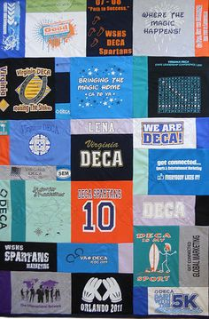 DECA t-shirt memory quilt.  This is the perfect gift for a H.S. senior. Take alittle bit of home and all your memories of H.S. with you when you leave for college.