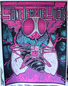Colorful pink and purple Stone Temple Pilots poster with fly illustration