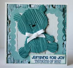 A clever way of using a wood grain background stamp - from I scrap my way Kids Cards, Baby Cards, Paper Cube, Bear Card, Jumping For Joy, Marianne Design, Scrapbook Cards, Scrapbooking, Hello Spring