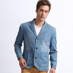 denim blazer Mens Fashion Suits, Mens Suits, Fashion Outfits, Denim Blazer, Blazer Suit, Denim Button Up, Button Up Shirts, Jean Shirts, Blazers For Men