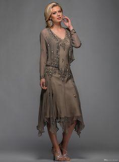 Tea Length Chiffon Evening Formal Dresses