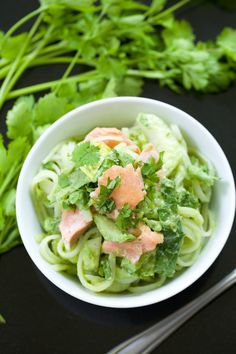 Rice Noodle Bowls with Avocado Dressing, Baby Bok Choy, and Grilled Salmon (paleo and vegan options) | GI 365