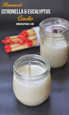 Keep the bugs and spiders away with homemade citronella candles.  Add a little eucalyptus to your DIY candles to help keep spiders at bay, too. All you need is wax, wicks, a mason jar and essential oils to keep bugs away all summer long.