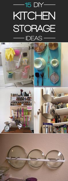 Clever and super easy DIY storage ideas and solutions for small kitchen.