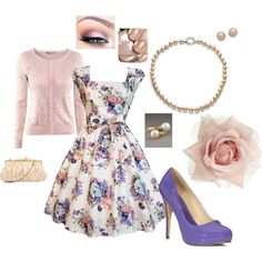 Love love love this outfit! So perfect ~ vintage dress and sweater