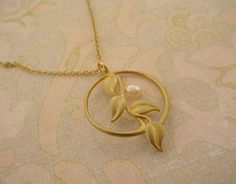 SALE Gold Circle Vine Necklace with Freshwater Pearl by MayaBelle, $34.40