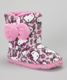 HK |❣| HELLO KITTY Pink & Gray Leopard Boot Slipper - Women