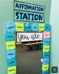 Affirmation Station (or ME-rror or Inspiration Station, all named by you ☺️) is posted and ready for the TpT sale tomorrow! Future Classroom, Classroom Setup, Classroom Organization, Classroom Management, School Counselor Organization, In The Classroom, Decorating Ideas For Classroom, Teacher Room Decorations, Welcome Door Classroom