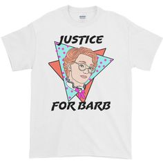 "Stranger Things ""Justice for Barb"" 80s inspired Graphic Tee ($23) ❤ liked on Polyvore featuring tops, t-shirts, graphic t shirts, t shirts, cotton shirts, graphic print t shirts and 1980s t shirts"