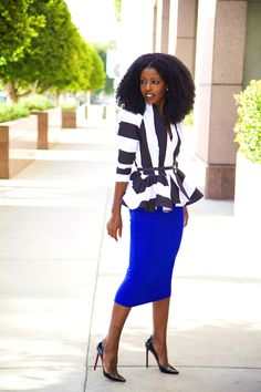 Striped Wrap Jacket + Pencil Midi Skirt