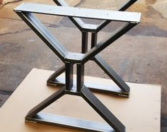 Modern Dining Table X Legs Model 14 Coffee Table Metal von DVAMetal