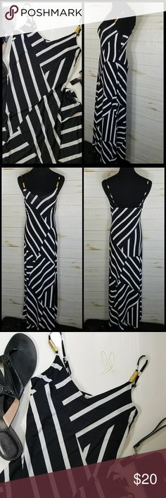 Womens Black & White Stripe Maxi Dress Worn Once! Black & White Stripe Adjustable Strap Maxi Dress With  In Stretch Size Small. Perfect For A Day In The Sun. Dresses Maxi
