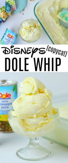 Copycat Walt Disney's Dole Whip Recipe Disney Copycat Dole Whip Recipe - This Disney Copycat Dole Whip Recipe is almost as good as the original. This delicious recipe will be on repeat until we make it back to Disney! Köstliche Desserts, Frozen Desserts, Frozen Treats, Dessert Recipes, Disney Desserts, Sweets Recipe, Donuts Keto, Comida Disney, Walt Disney