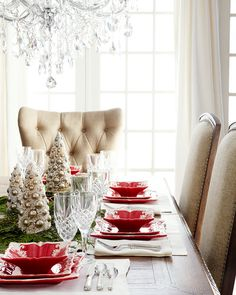 Love this Red Square Baroque Dinnerware Service for Christmas dinner! - Horchow