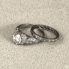 Antique Jewelry Antique Edwardian Engagement Ring and Band Set. Circa - A stunning Edwardian Engagement Ring set in a rare and beautiful handmade platinum mounting. Part of our rare collection of Pristine Edwardian Rings. Wedding Ring Styles, Wedding Rings Vintage, Antique Engagement Rings, Diamond Wedding Rings, Bridal Rings, Vintage Rings, Diamond Engagement Rings, Wedding Jewelry, Diamond Rings