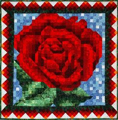 Quilt Pattern  Red Rose Mosaic Quilt Pattern  by JaneLKakaley, $10.00