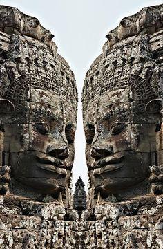 Angkor Wat, Faces Fotografía gigante en el templo de Bayon - Angkor Wat, Bayon Caras gigante en Temple Lámina Fine