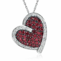 Ruby & DIAMOND HEART PENDANT IN STERLING SILVER  #HelzbergDiamonds #crazypinlove